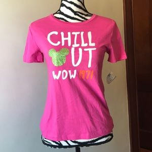 """DISNEY PARKS """"Chill Out"""" pink shirt size XLG NWT"""